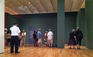 "Visitors viewing ""Girl with a Pearl Earring"" at the High during Member Preview."
