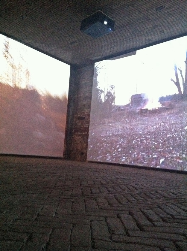 "Two of the three screens in play during projection of ""Scarlet Air"" at Whitespace."